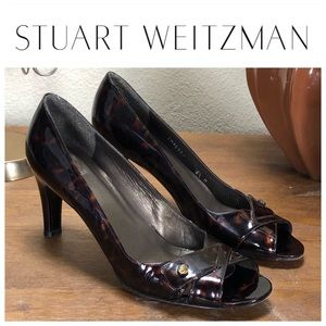 Stuart Weitzman Brown Tortoise Shell Open Toe Heel